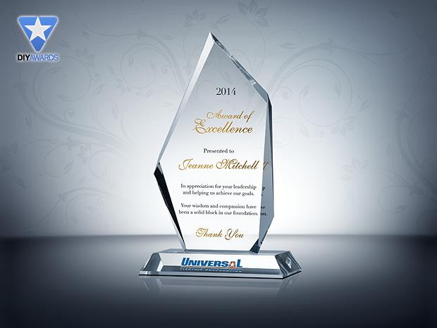 Peak Award Of Excellence Etched Crystal Award Plaque Samples