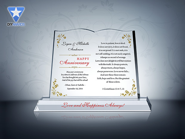 Anniversary Gift For Couple Etched Crystal Award Plaque