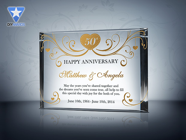 50th Anniversary Gift Etched Crystal Award Plaque Samples