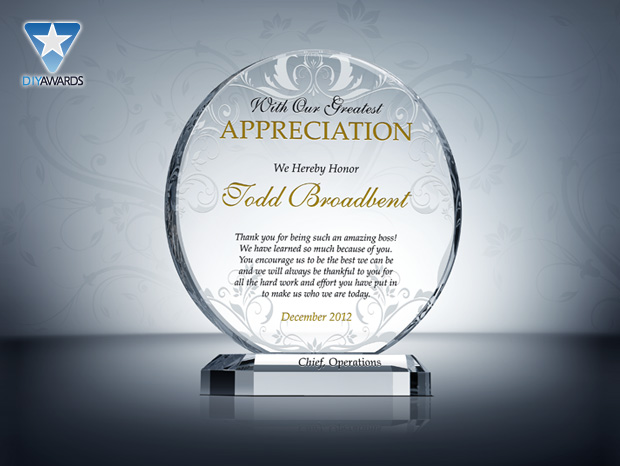plaque of appreciation template - sample message plaque of recognition just b cause