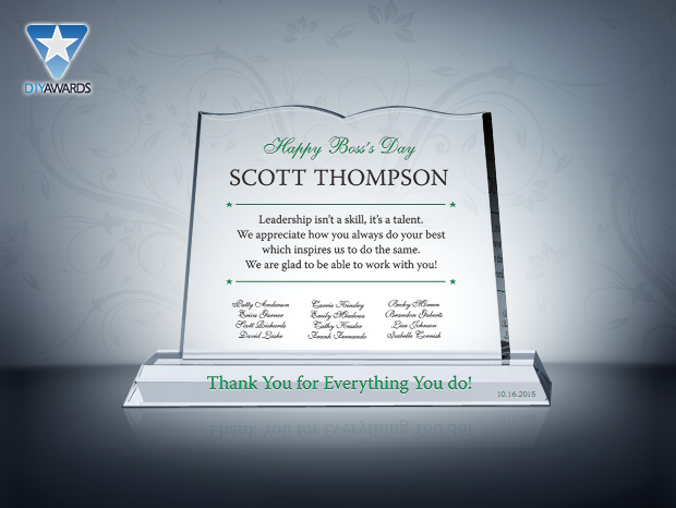 Thank You Gift for Boss - Etched Crystal Award & Plaque Samples