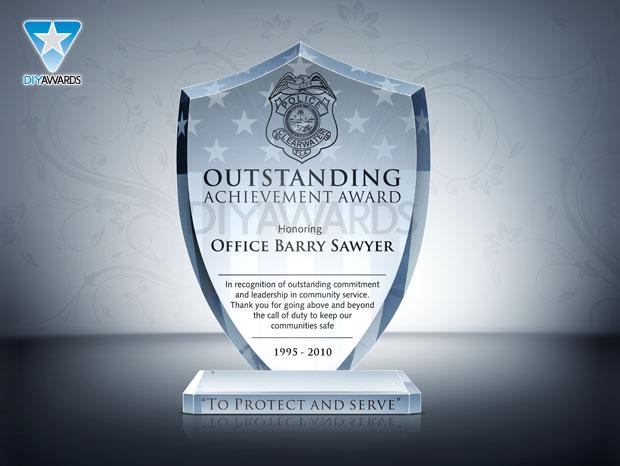National Shield Award - Etched Crystal Award & Plaque Samples